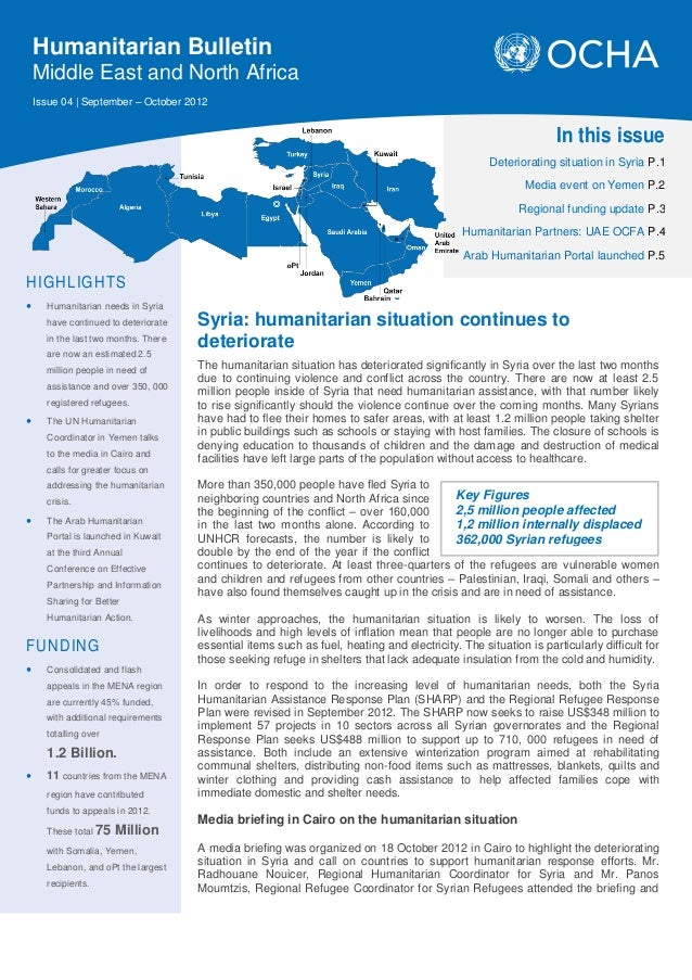 Humanitarian Bulletin    Middle East and North Africa    Issue 04 | September – October 2012                              ...