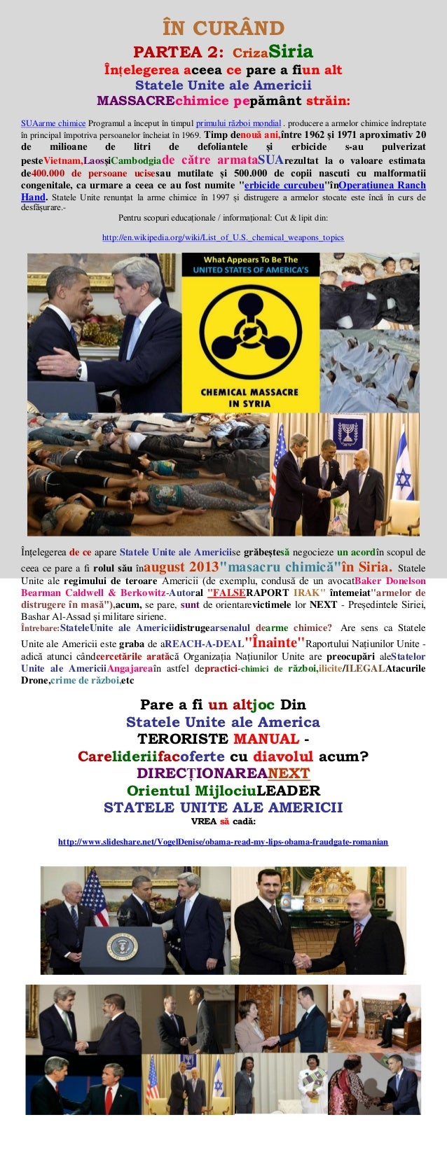 SYRIA CRISIS - (USA) CHEMICAL WEAPONS ATTACK(romanian)