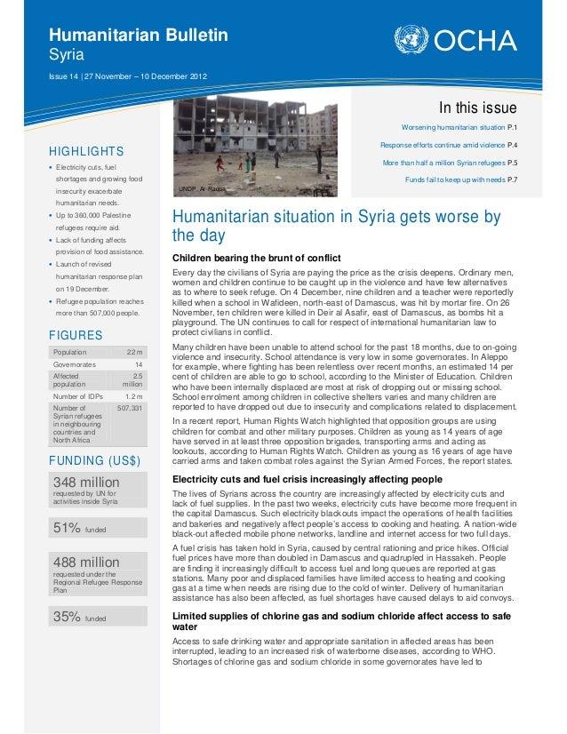Humanitarian BulletinSyriaIssue 14 | 27 November – 10 December 2012                                                       ...