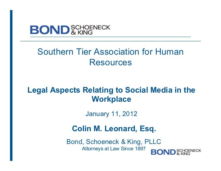 Legal Aspects Relating to Social Media in the Workplace