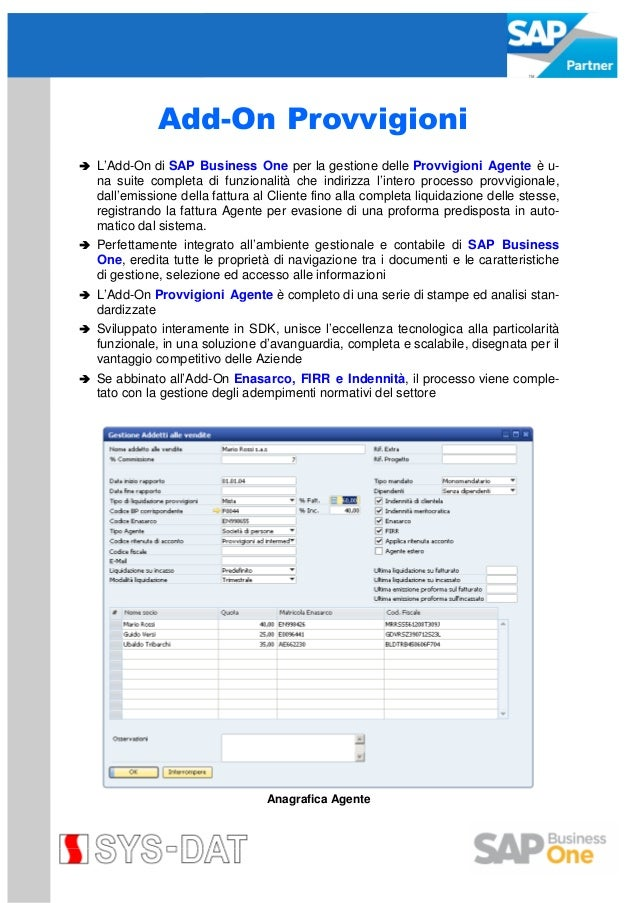 SYS-DAT Add On Provvigioni per SAP Business One
