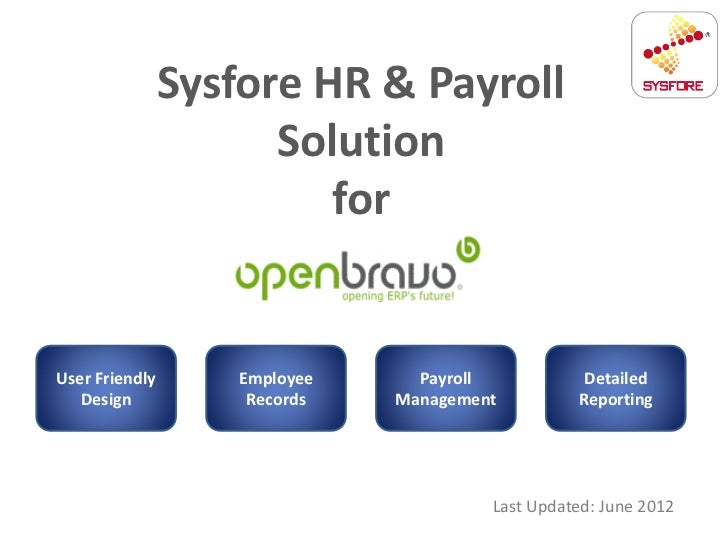 Sysfore HR & Payroll                      Solution                         forUser Friendly       Employee     Payroll    ...