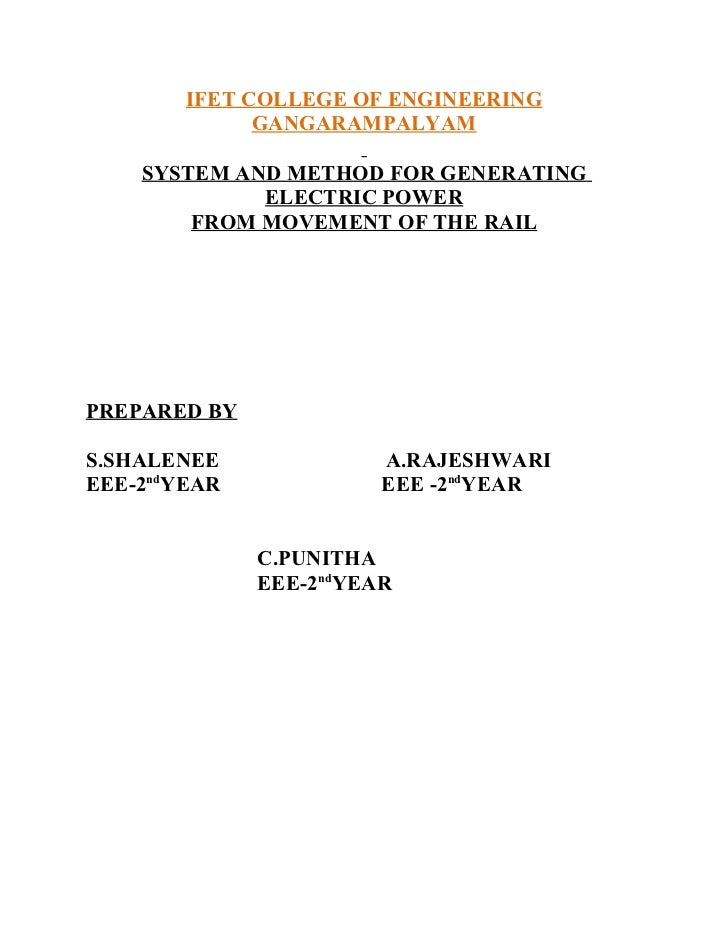 IFET COLLEGE OF ENGINEERING              GANGARAMPALYAM    SYSTEM AND METHOD FOR GENERATING             ELECTRIC POWER    ...