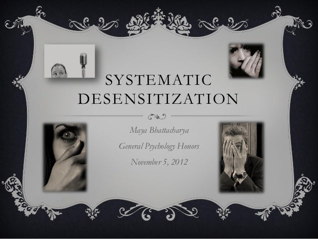 systematic desensitisation Systematic desensitization imagine there's a highly evidence-based treatment that can help the agoraphobic, the posttraumatic stress sufferer, and the socially.
