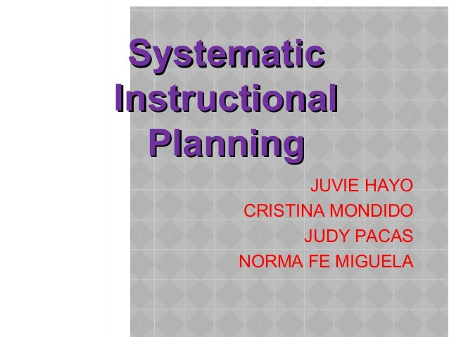 Systematic instructional planning