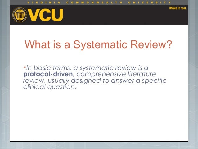 A young researcher's guide to a systematic review