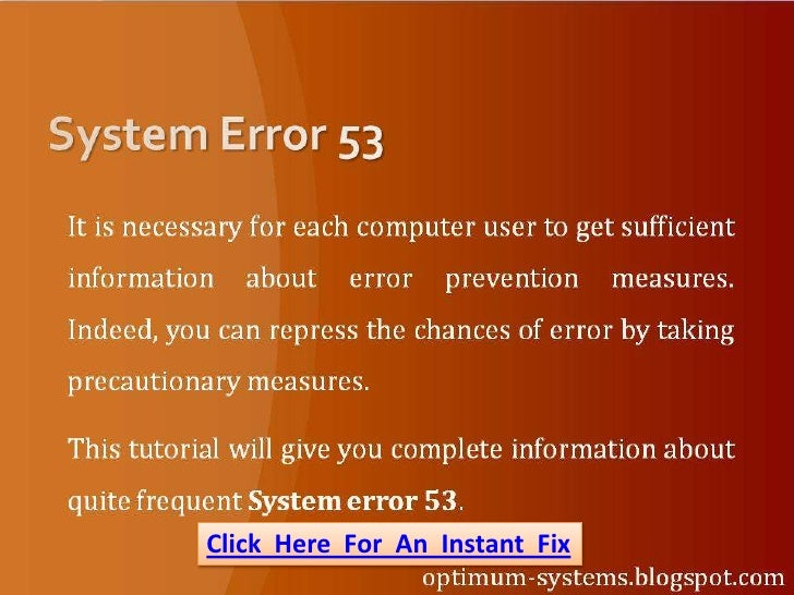 How To Fix System Error 53