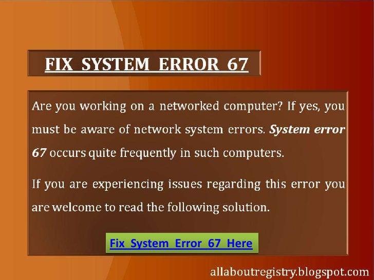 Fix System Error 67 Here