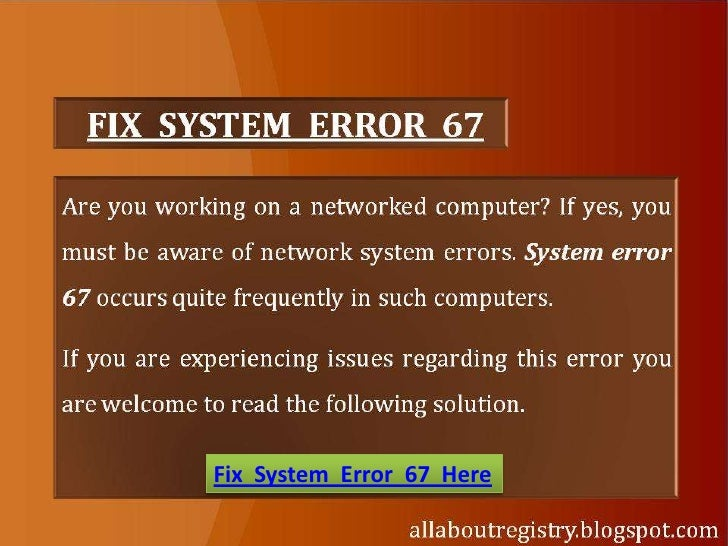 How To Fix System Error 67