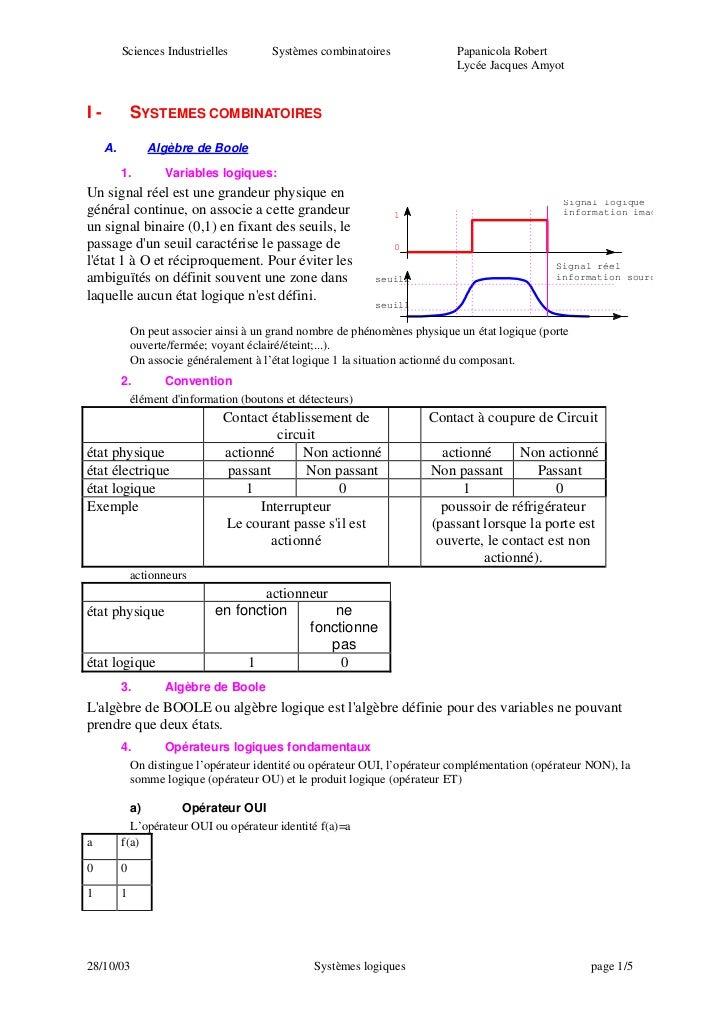 Systemes combinatoires