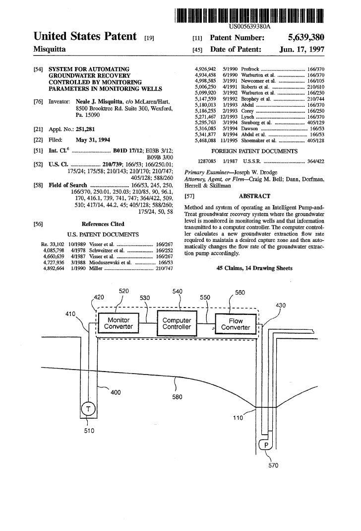 Groundwater Remediation Optimization - Neale Misquitta Patent