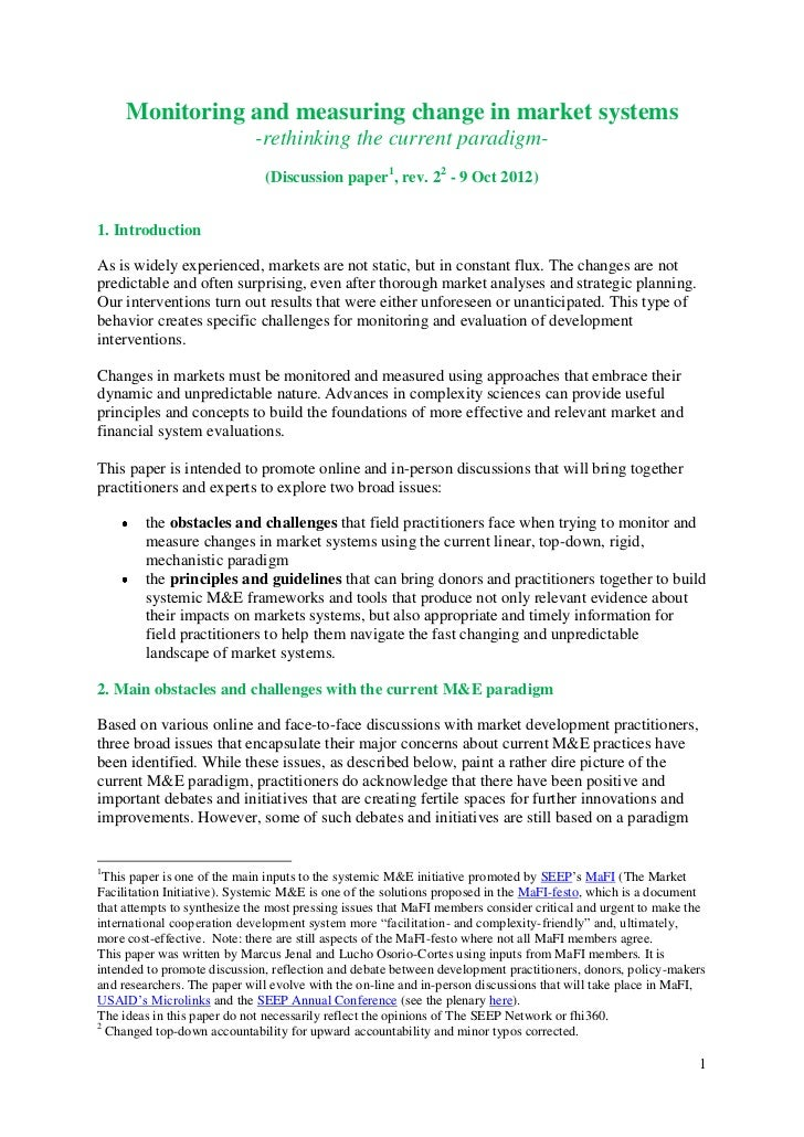Systemic M&E discussion paper, version 2 - 9 Oct 2012