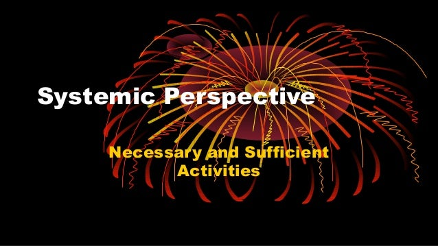 Systemic Perspective Necessary and Sufficient Activities