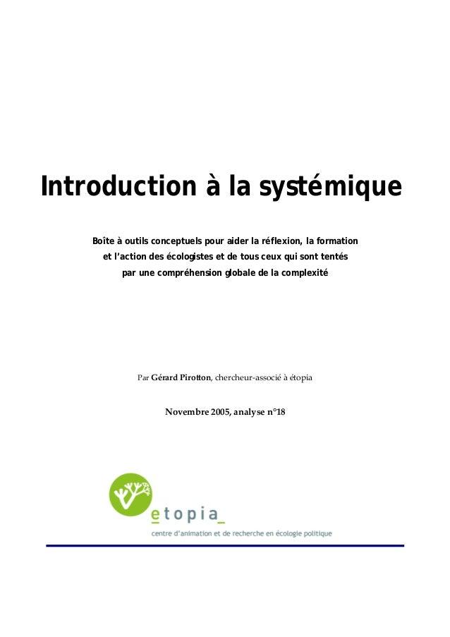 Introduction à la systémique  Boîte à outils conceptuels pour aider la réflexion, la formation  et l'action des écologiste...