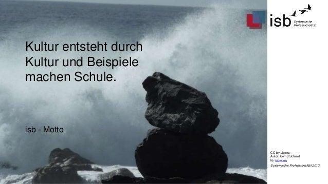CC-by-Lizenz,  Autor: Bernd Schmid  für isb-w.eu  Systemische Professionalität 2013  Kultur entsteht durch  Kultur und Bei...