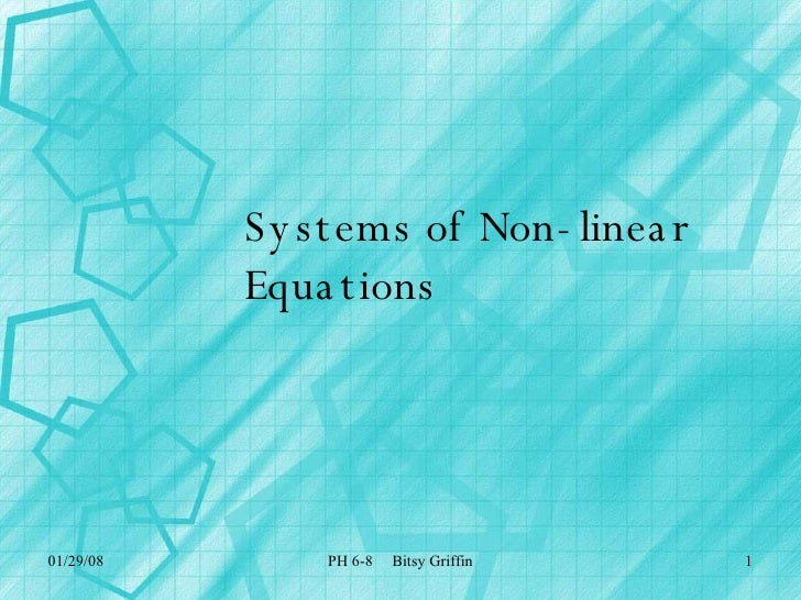 Systems of Non-linear Equations