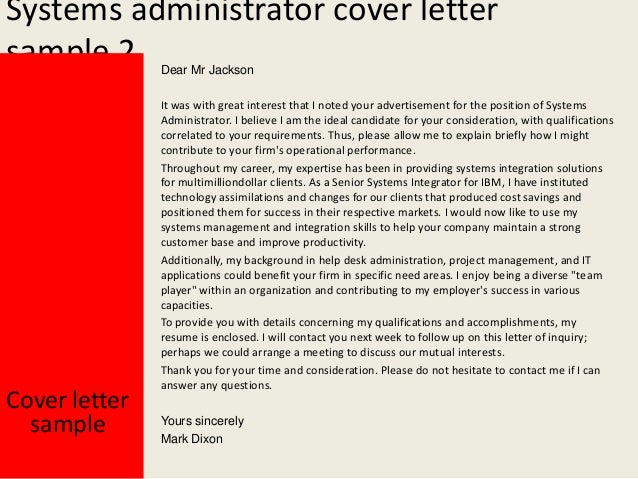 Maximo administrator cover letter