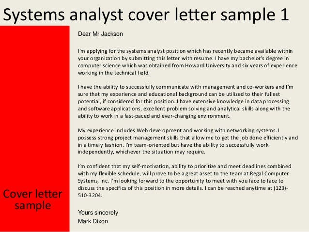 cover letter for system analyst