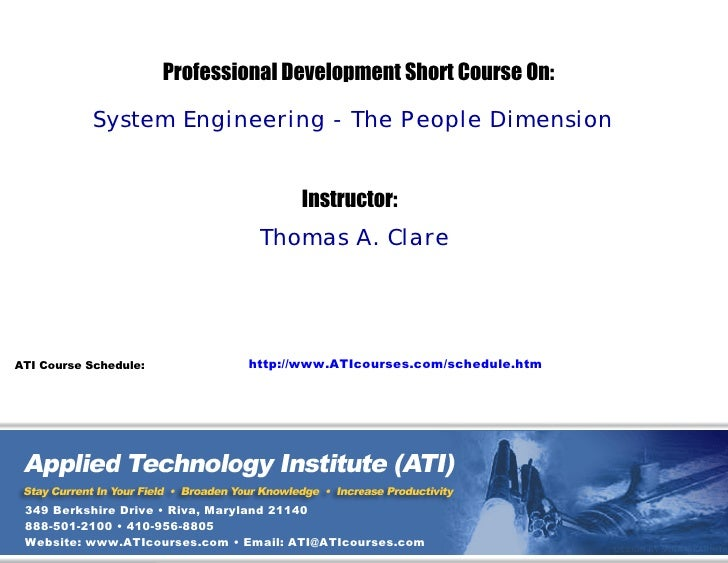 ATI Systems Engineering - The People Dimension Professional Development Technical Training Short Course