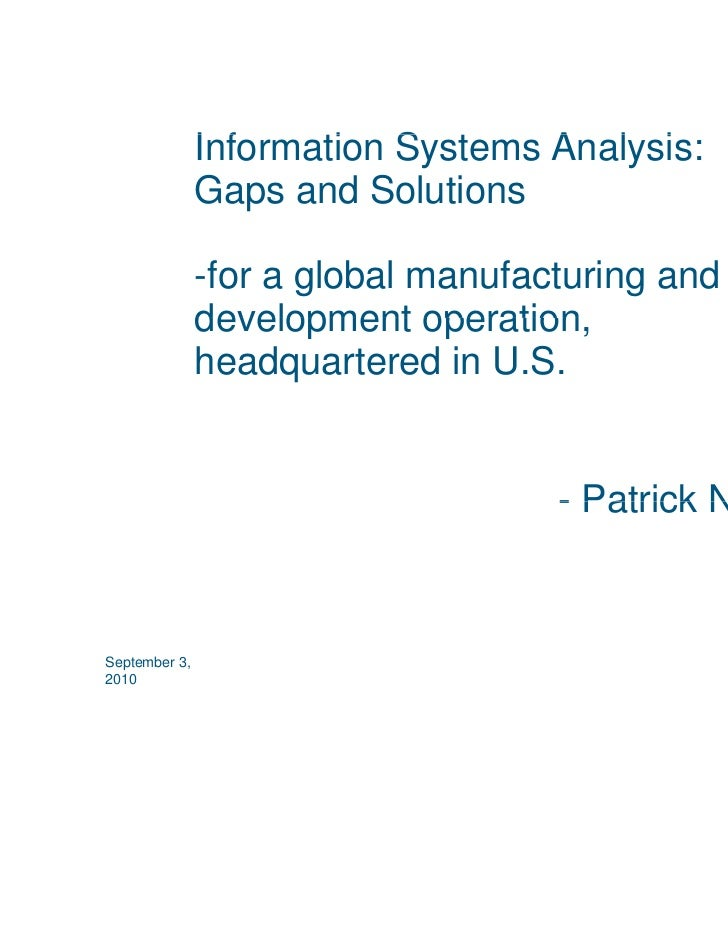 Information Systems Analysis:               I f    ti S t       A l i               Gaps and Solutions               -for ...