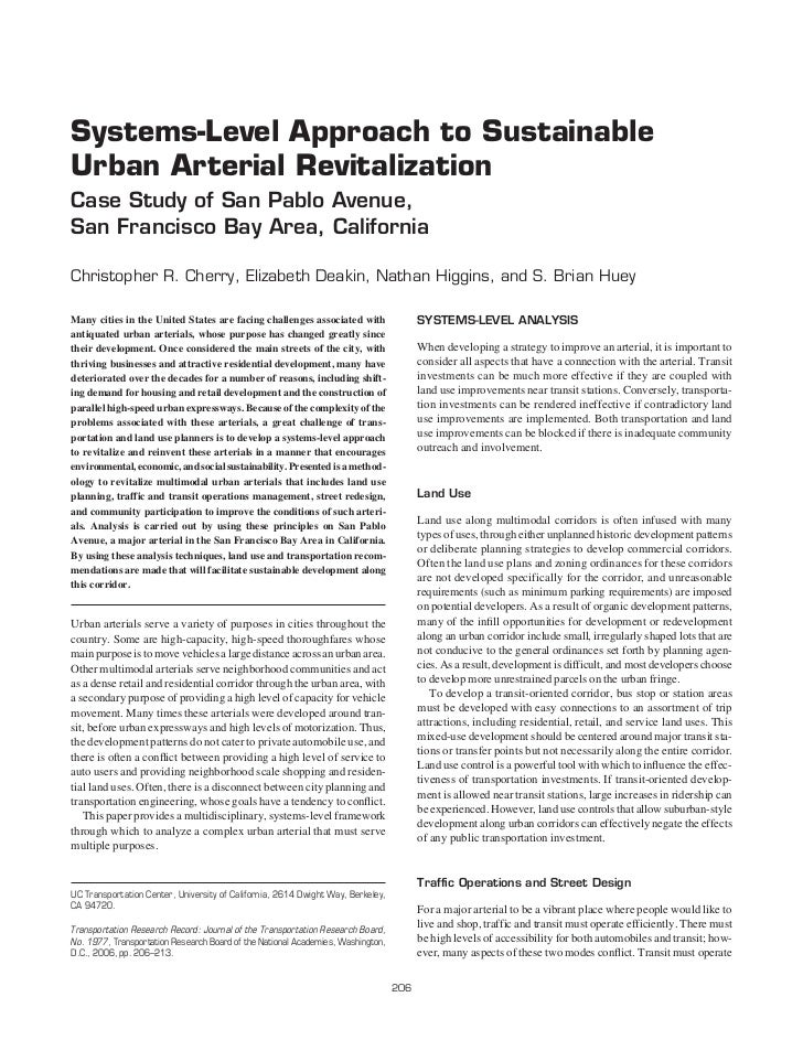 Systems-Level Approach to SustainableUrban Arterial RevitalizationCase Study of San Pablo Avenue,San Francisco Bay Area, C...