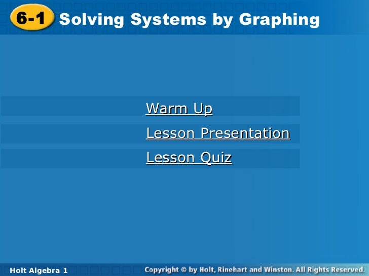 Systems of equations by graphing by graphing sect 6 1