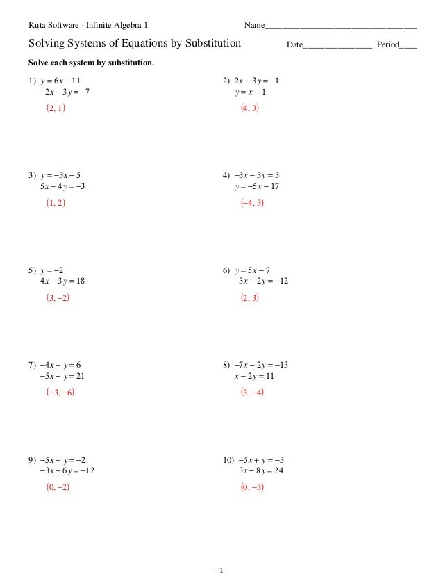 {Solving Systems Of Linear Equations By Substitution Worksheet Answers – Systems of Equations by Substitution Worksheet