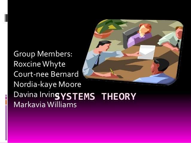 Group Members: Roxcine Whyte Court-nee Bernard Nordia-kaye Moore Davina Irving SYSTEMS Markavia Williams  THEORY