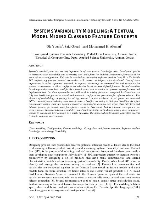 Systems variability modeling a textual model mixing class and feature concepts