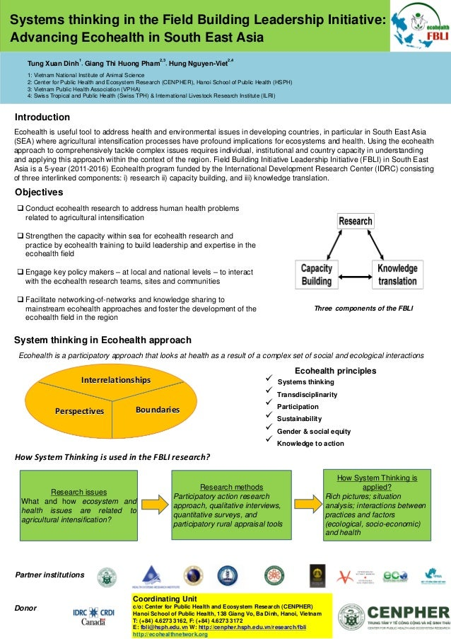 Systems thinking in the Field Building Leadership Initiative: Advancing Ecohealth in South East Asia 1  2,3  2,4  Tung Xua...