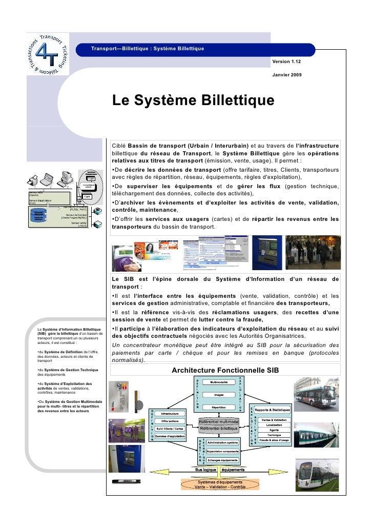 Transport—Billettique : Système Billettique                                                                               ...