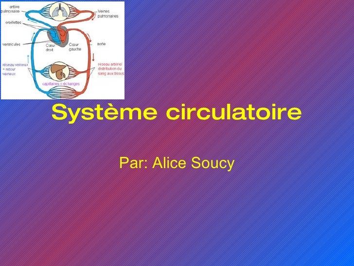 Système circulatoire Par: Alice Soucy