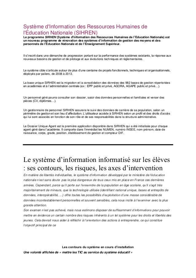 Système dInformation des Ressources Humaines delEducation Nationale (SIHREN)Le programme SIRHEN (Système d'Information des...