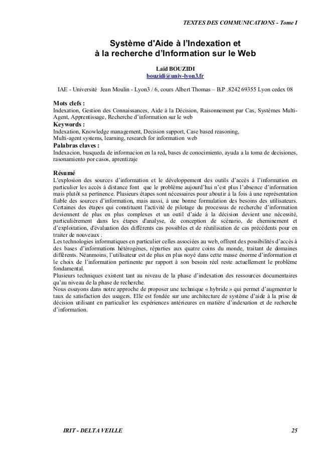 TEXTES DES COMMUNICATIONS - Tome I Système d'Aide à l'Indexation et à la recherche d'Information sur le Web Laïd BOUZIDI b...