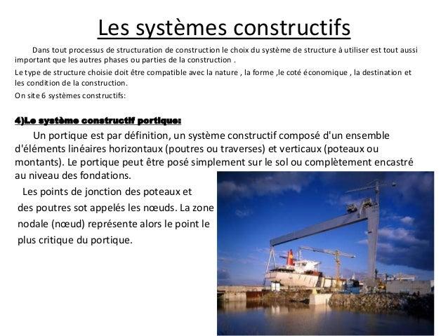 Les systèmes constructifs Dans tout processus de structuration de construction le choix du système de structure à utiliser...