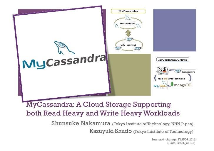 +MyCassandra: A Cloud Storage Supportingboth Read Heavy and Write Heavy Workloads        Shunsuke Nakamura (Tokyo Institu...
