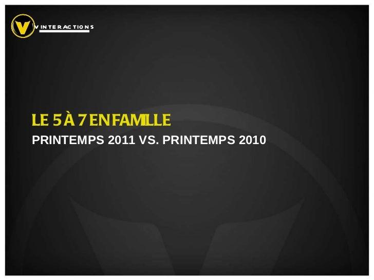 LE 5 À 7 EN FAMILLE PRINTEMPS 2011 VS. PRINTEMPS 2010