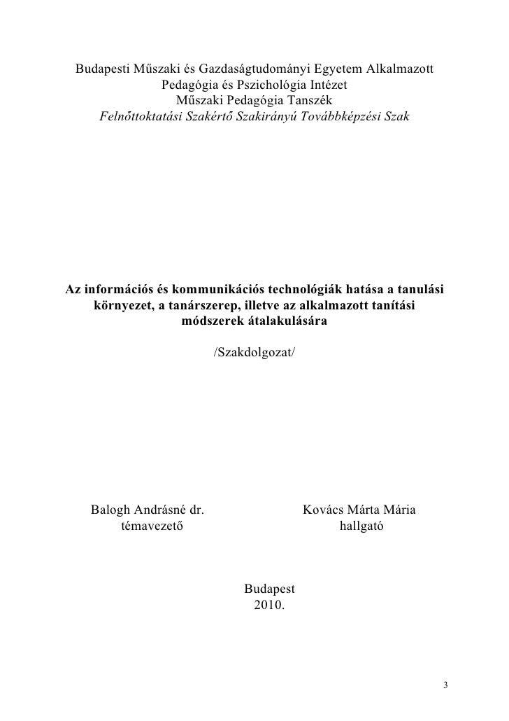Budapesti Műszaki és Gazdaságtudományi Egyetem Alkalmazott                    Pedagógia és Pszichológia Intézet           ...