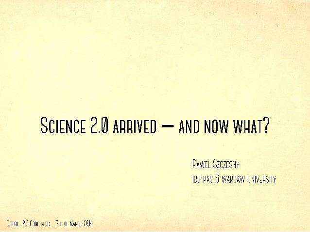 Science 2.0 - and now what?