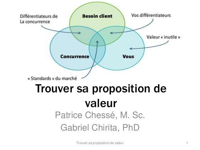 Trouver sa proposition de  valeur  Patrice Chessé, M. Sc.  Gabriel Chirita, PhD  Trouver sa proposition de valeur 1
