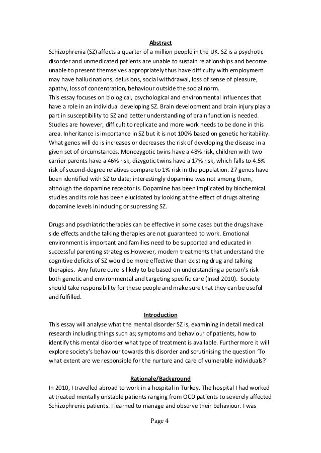 Schizophrenia essay research paper