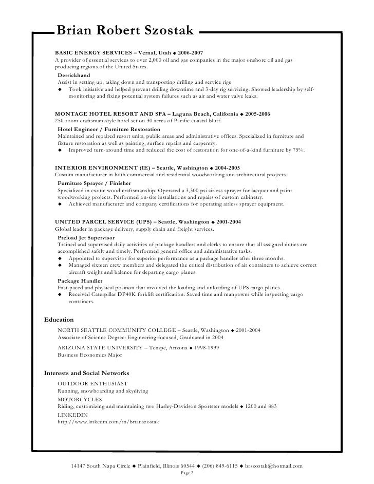 brian szostak field service technician resume