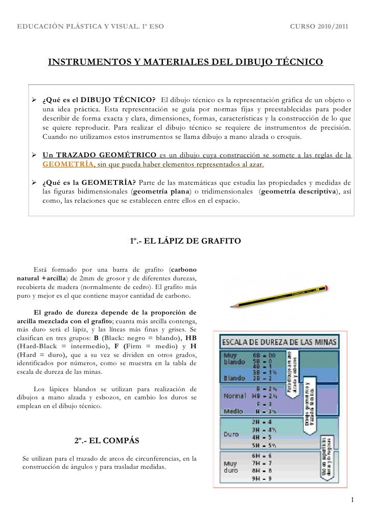 EDUCACIÓN PLÁSTICA Y VISUAL. 1º ESO                                                    CURSO 2010/2011          INSTRUMENT...