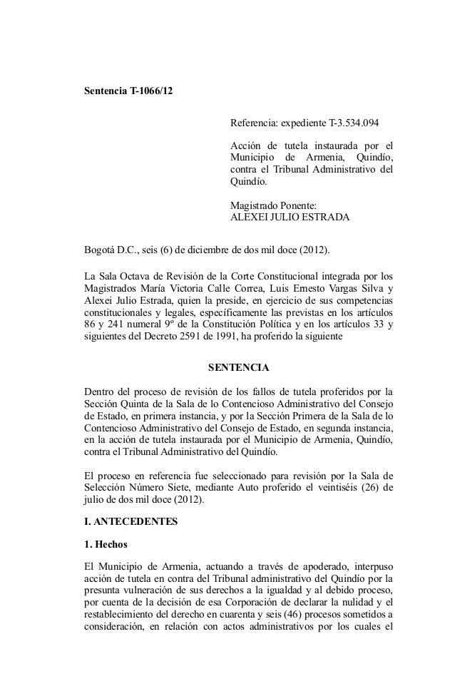 Sentencia T-1066/12                                   Referencia: expediente T-3.534.094                                  ...