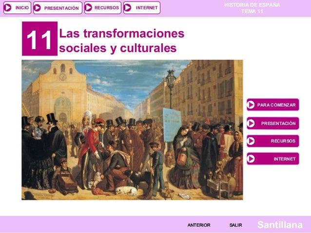 HISTORIA DE ESPAÑA TEMA 11 RECURSOS INTERNETPRESENTACIÓN Santillana INICIO SALIRSALIRANTERIORANTERIOR 11 Las transformacio...