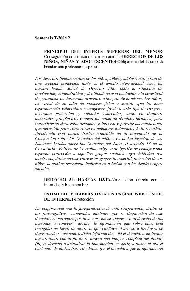 Sentencia T-260/12 PRINCIPIO DEL INTERES SUPERIOR DEL MENORConsagración constitucional e internacional/DERECHOS DE LOS NIÑ...