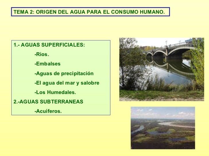 TEMA 2: ORIGEN DEL AGUA PARA EL CONSUMO HUMANO. 1.- AGUAS SUPERFICIALES: -Ríos. -Embalses -Aguas de precipitación -El agua...