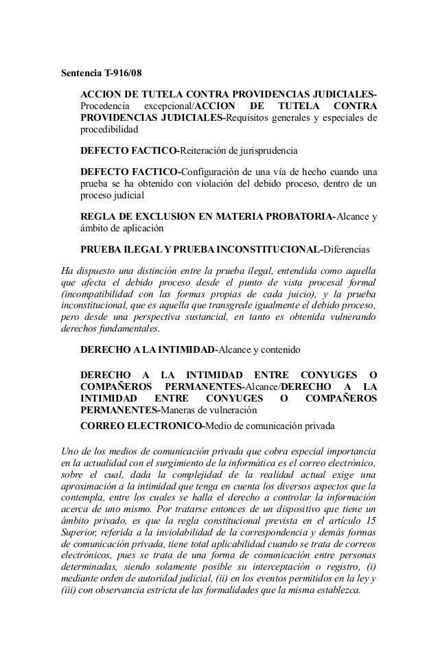 Sentencia T-916/08 ACCION DE TUTELA CONTRA PROVIDENCIAS JUDICIALESProcedencia excepcional/ACCION DE TUTELA CONTRA PROVIDEN...