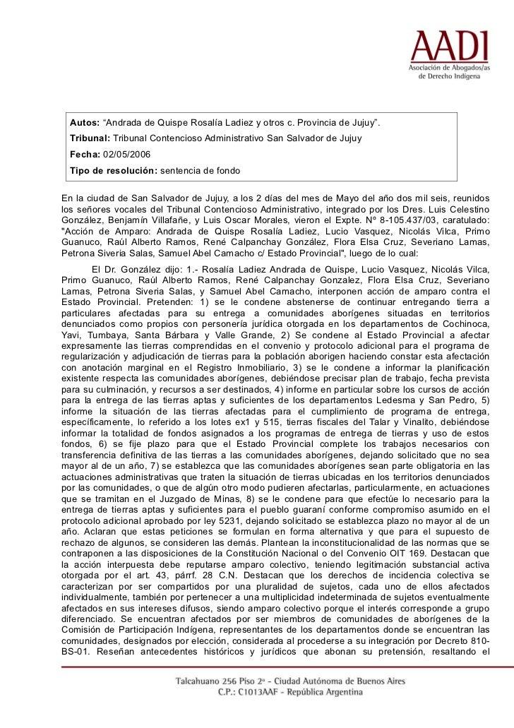 """Autos: """"Andrada de Quispe Rosalía Ladiez y otros c. Provincia de Jujuy"""".  Tribunal: Tribunal Contencioso Administrativo Sa..."""