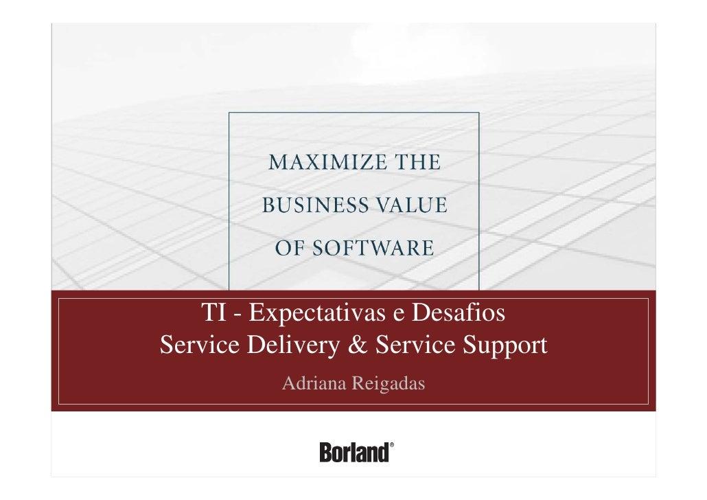 T I   Expectativas E Desafios   Services Delivey E Service Support